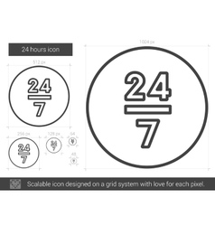 Twenty four hours line icon vector image