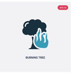 Two color burning tree icon from meteorology vector