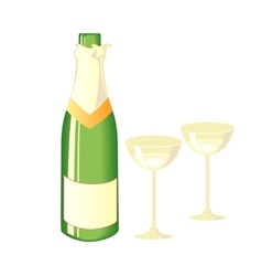 two glasses champagne and bottle vector image