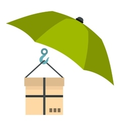 Umbrella and box icon flat style vector