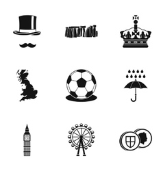United Kingdom icons set simple style vector