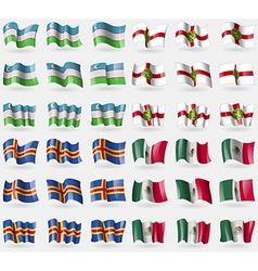 Uzbekistan Alderney Aland Mexico Set of 36 flags vector