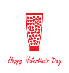 valentines day love card tube cream vector image