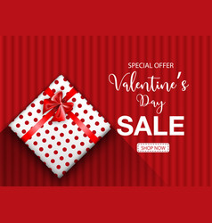valentines day sale promo background with gift vector image
