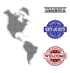 Welcome composition of halftone map of south and vector