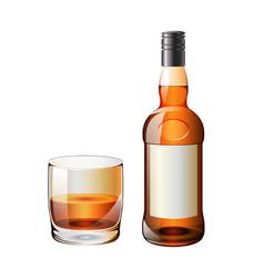Whiskey-bottle-glass vector