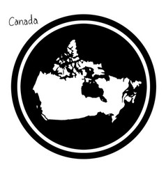 white map of canada on black circle vector image