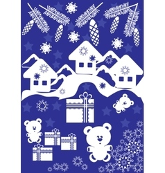 Winter card with small houses and gift box vector image