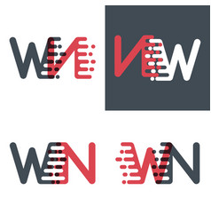Wn letters logo with accent speed pink and dark vector