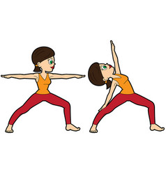 yoga asana set warrior two vector image