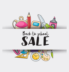 back to school sale doodle clip art greeting card vector image vector image