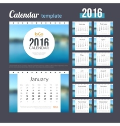 Desk Calendar 2016 Design Template with Nature vector image vector image