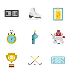 hockey elements and figure skating icons set vector image vector image