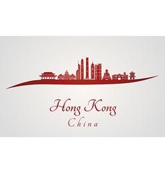 Hong Kong V2 skyline in red vector image
