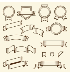 Set of vintage ribbons and labels vector image vector image