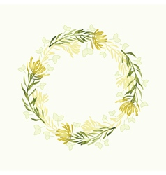 watercolor round floral frame Hand draw herbal vector image