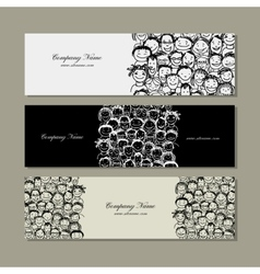 Banners with people crowd for your design vector image vector image