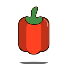 red bell pepper vegetable icon flat design vector image vector image