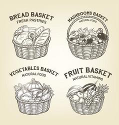 set of baskets with diferent kinds of food vector image vector image