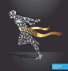 active running man shape concept vector image vector image