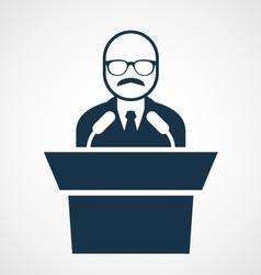 Bald-headed man at rostrum - speaker vector image
