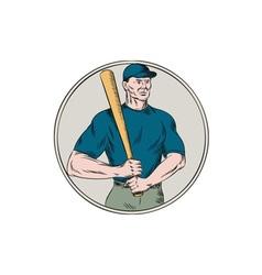 Baseball Player Batter Holding Bat Etching vector image