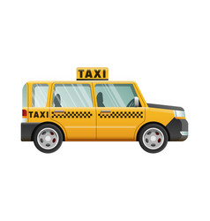 Big yellow taxicab checker on roof of automobile vector