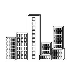 building set city monochrome silhouette vector image