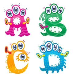 Cartoon monster letters from A to D vector image