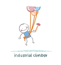 industrial climber flies on the balloons with a vector image vector image