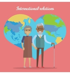 International Relations Travel in Old Age Concept vector image