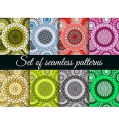 Mandala seamless pattern set vector image