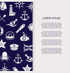 marine banner with outline sea elements vector image vector image