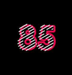 85 years anniversary line design logo template vector