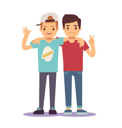 Adult guys men two best friends friendship vector