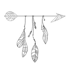 an arrow with feathers vector image