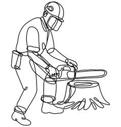 Arborist or tree surgeon with chainsaw continuous vector