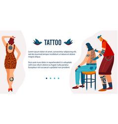 Art tattoo people flat vector