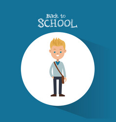 back to school student boy blond bag blue vector image