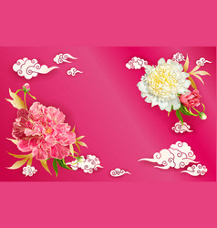 background with peonies and chinese clouds vector image