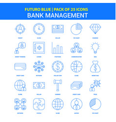 bank management icons - futuro blue 25 icon pack vector image