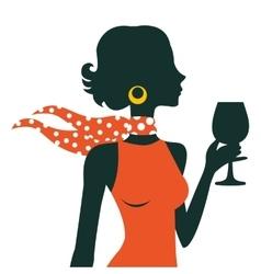 Beautiful elegant woman silhouette vector