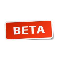 Beta square sticker on white vector