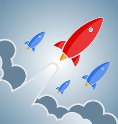 Big red and smaller blue rockets retro design vector image