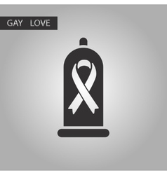 black and white style icon gays condom vector image