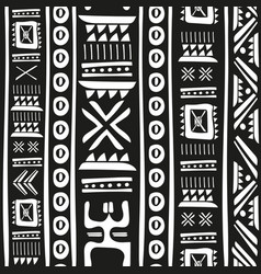 black and white tribal doodle seamless vector image