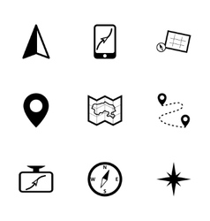 black navigation icons set vector image