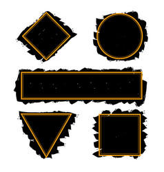 black trendy frames of ink brush strokes set vector image