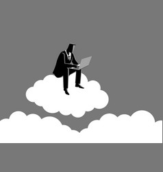businessman sits on cloud vector image