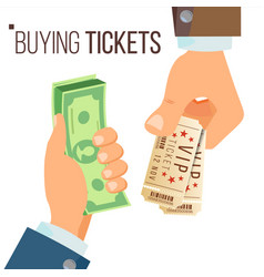 buying and selling tickets hands holding vector image